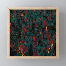 Night city glow cartoon Framed Mini Art Print