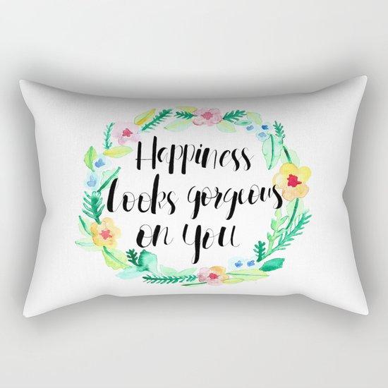 Happiness Looks Gorgeous Rectangular Pillow