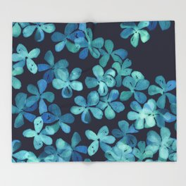 Hand Painted Floral Pattern in Teal & Navy Blue Throw Blanket