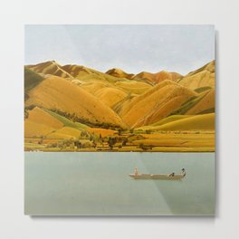 Edge of Abruzzi, Italy; boat with three people on lake by Winifred Knights Metal Print