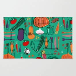 fall veggies green Rug