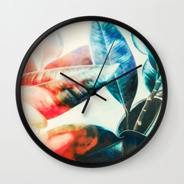 Leaf in the sunset Wall Clock
