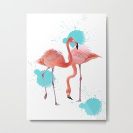 FLAMINGO DANCE BY TWO CLEAR Metal Print