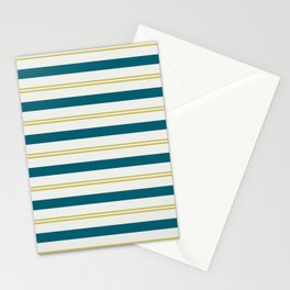 Off White, Dark Yellow and Tropical Dark Teal Inspired by Sherwin Williams 2020 Trending Color Oceanside SW6496 Stripes Thick and Thin Horizontal Line Pattern 3 Stationery Cards