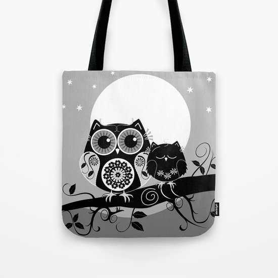 B&W Flower power Owl and her Sleepy Baby Tote Bag