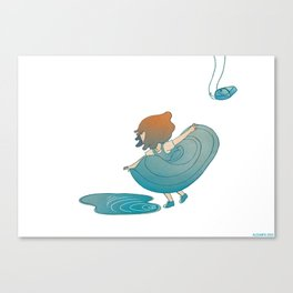 landing right in front of a beautiful puddle. Canvas Print