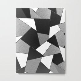 Silver Gray Black White Geometric Glam #1 #geo #decor #art #society6 Metal Print