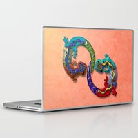 techno Laptop & iPad Skins featuring Techno Geckos by Illustrated Light and Color