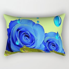 DECORATIVE BLUE SURREAL DRIPPING ROSES & GREEN FROGS Rectangular Pillow
