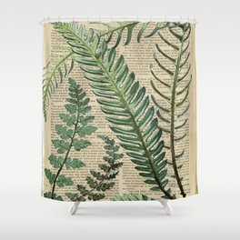 Book Art Page Botanical Leaves Shower Curtain