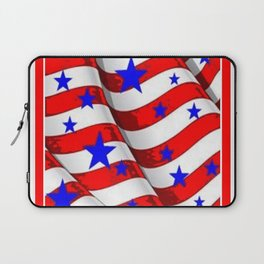 RED PATRIOTIC JULY 4TH BLUE STARS AMERICANA ART Laptop Sleeve
