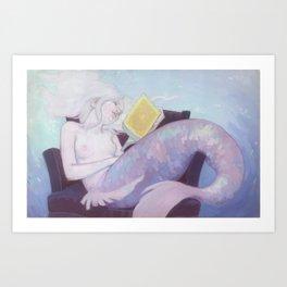A literary mermaid Art Print
