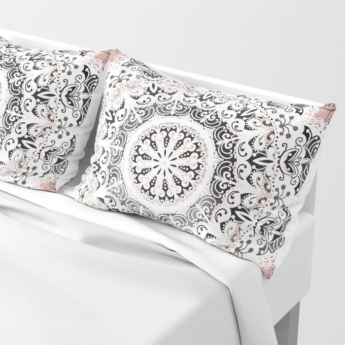 Dreamer Mandala White On Rose Gold Pillow Sham