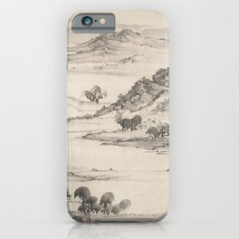 View of West Lake Japanese Scroll 1700s, Ike Taiga iPhone Case