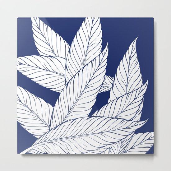 SUMMERTIME (Leaves on blue) Metal Print
