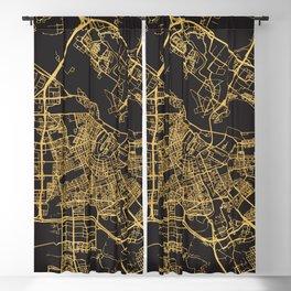 AMSTERDAM NETHERLAND GOLD ON BLACK CITY MAP Blackout Curtain