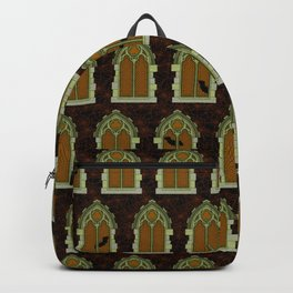 Gothic Halloween Windows // Orange Glow Backpack