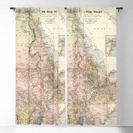 The Nile River Valley Map (1910) Blackout Curtain