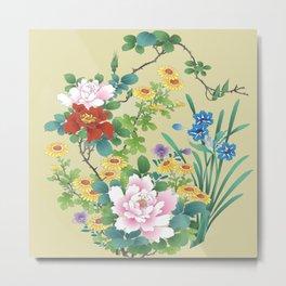 Japanese Vintage Floral Kimono Pattern Metal Print