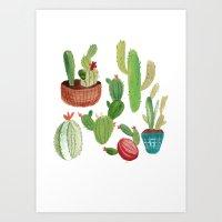 A Family Of Cacti Art Print