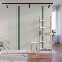 Vintage Country French Grainsack Green Stripes Creme Background Wall Mural