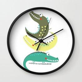 Crocodile Tower Cute Adorable Fun Print Wall Clock