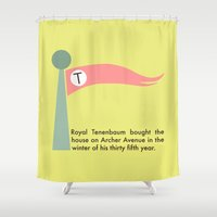 royal tenenbaums Shower Curtains featuring The Tenenbaums flag pennant by we are bananas