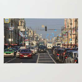 Cars traffic on Nevsky Prospect Rug