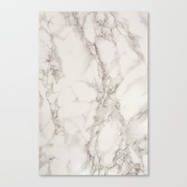 Classic Beige and White Marble Natural Stone Veining Quartz Canvas Print