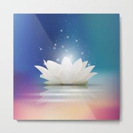 Elegant Gentle  White  Lotus / Lily flower Metal Print