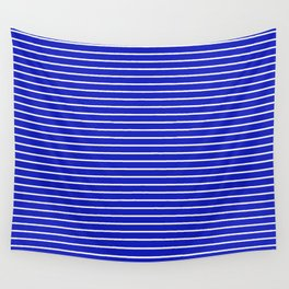 Royal Blue and White Horizontal Stripes Wall Tapestry