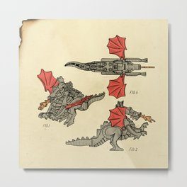Lego Dragon Metal Print