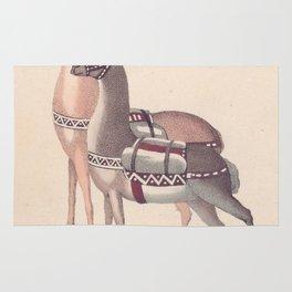 Vintage Illustration of Llamas (1809) Rug