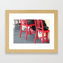 Sitting Cross Legged On The Red Chair Framed Art Print