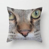 arya Throw Pillows featuring Cat by Kellie Eickstead