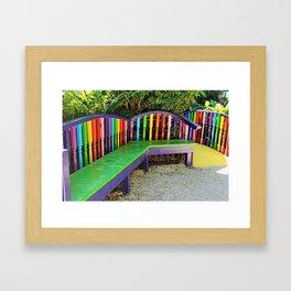 Bright Benches I Framed Art Print
