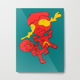 Astronaut getting kicked because the world needs this -- funny cartoon drawing in red and yellow Metal Print