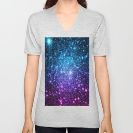 Glitter Galaxy Stars : Turquoise Blue Purple Hot Pink Ombre Unisex V-Neck