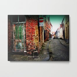 Medieval Belgium Architecture Photography Red Brick Cobbled Streets Metal Print