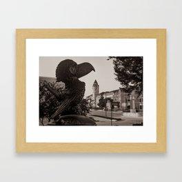 Kansas University Skyline along Jayhawk Boulevard - Sepia Edition Framed Art Print