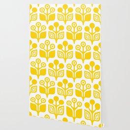 Mid Century Garden Flower Pattern Yellow Wallpaper