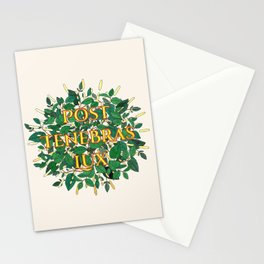 Post Tenebras Lux - After Darkness Light - Latin Quote on Cream Stationery Cards
