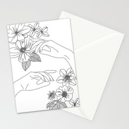 Hands and flowers line drawing illustration - Isabel Stationery Cards