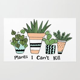 Plants I Can't Kill Funny Illustration Rug