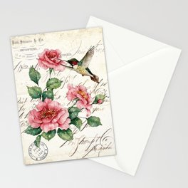 Vintage Roses Print Hummingbird Art Love Quote Rustic Decor Valentine Gift Stationery Cards
