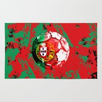 portugal Area & Throw Rugs featuring football Portugal  by seb mcnulty