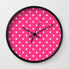 Pink & White Polka Dots Wall Clock