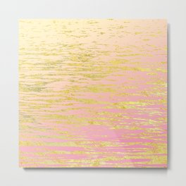 Pink Gold Ripples Metal Print