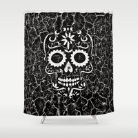 cracked Shower Curtains featuring Cracked SKULL by MehrFarbeimLeben