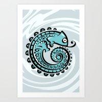 chameleon Art Prints featuring chameleon by Erdogan Ulker